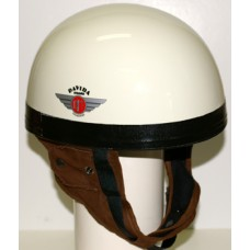 Gloss Cream w/Brown Leather 60513 - Davida Classic Helmet